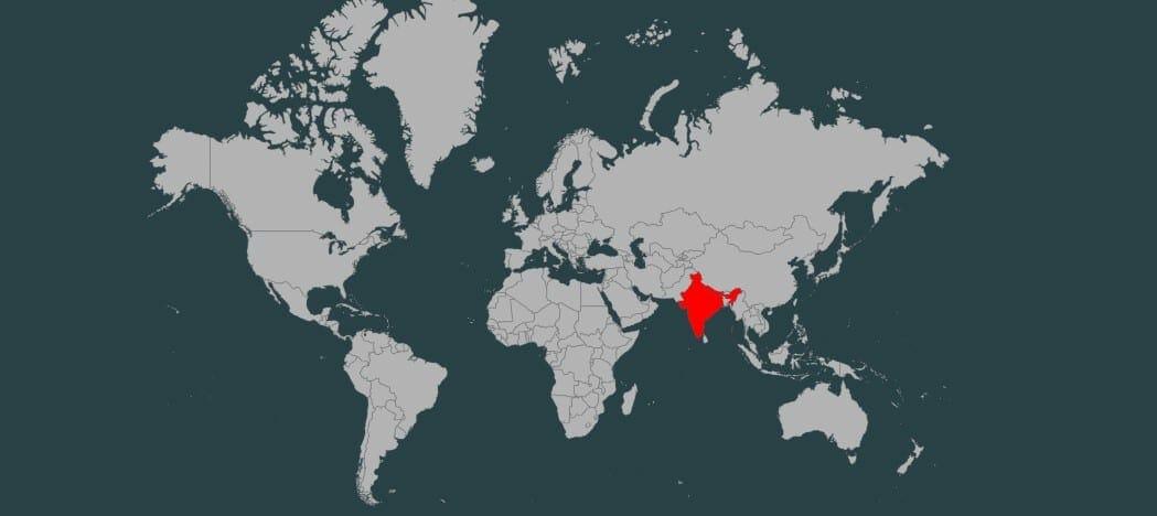 Freeset headquarters marked on map (Nepal & India)