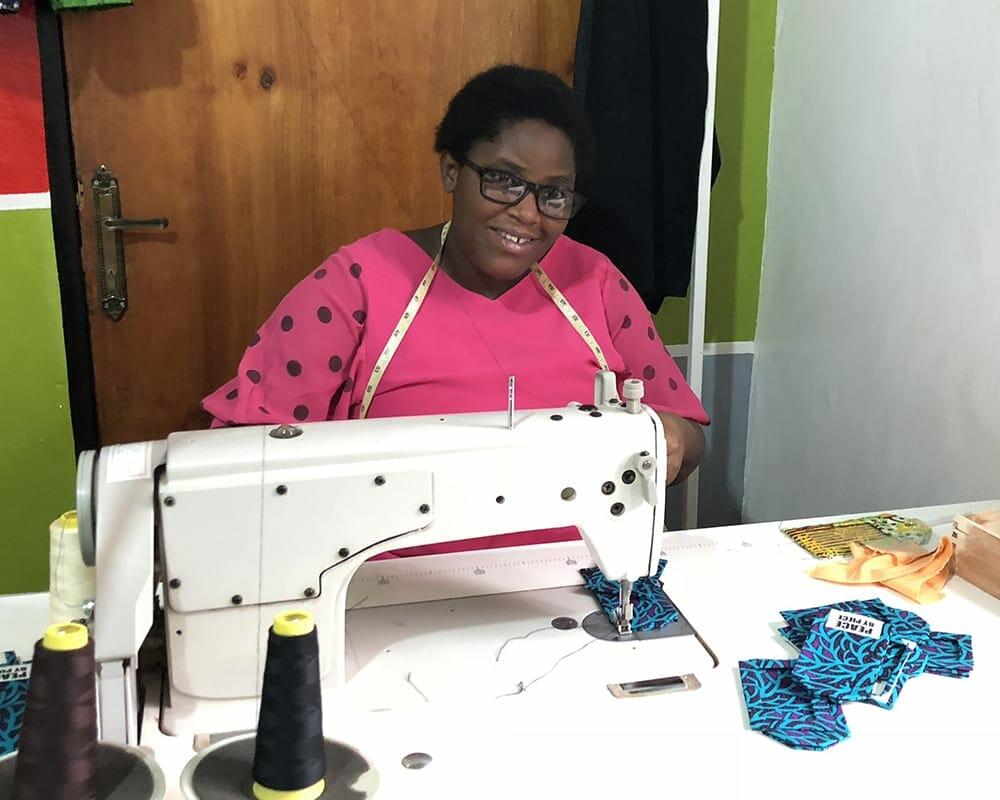 Nadine of Kipepeo seamtress making gifts