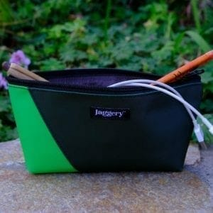 JA11 pencil case 2 tone green with cords