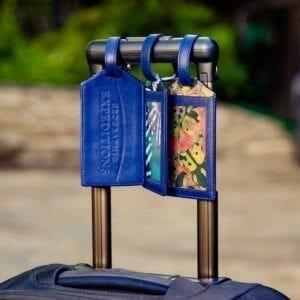 3 GeoEx blue luggage tags