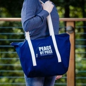 Blue bag w white handles