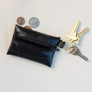 Coin and key purse on flat surface