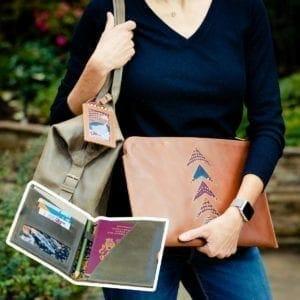Woman holding portfolio 1